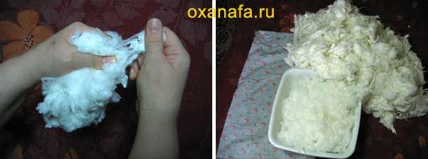 восстановление искусственного лебяжьего пуха