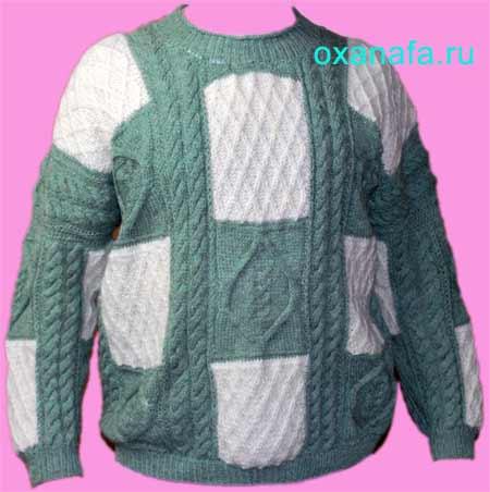 Фото связанного мужского шерстяного свитера для. сына.