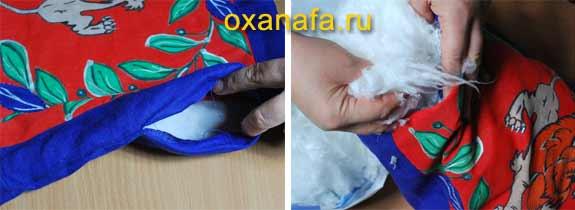 Наполнение подушки с батиком искуственным лебяжьим пухом