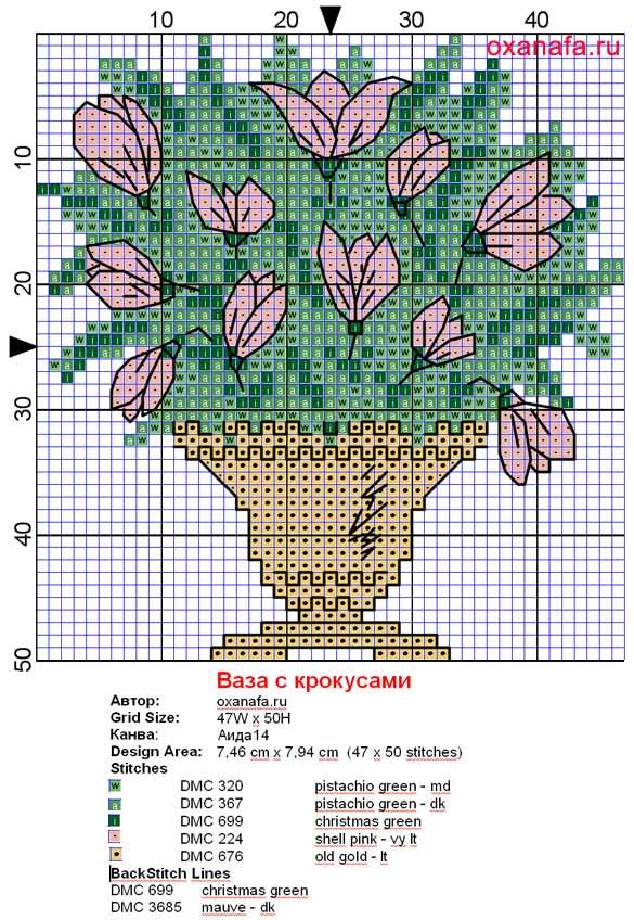 Бесплатная схема вышивки крестом цветов