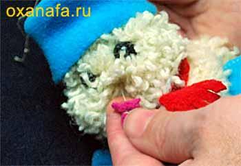Пришивание носа мягкой игрушки