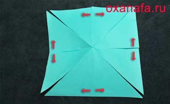 Разрезать лист бумаги по складкам