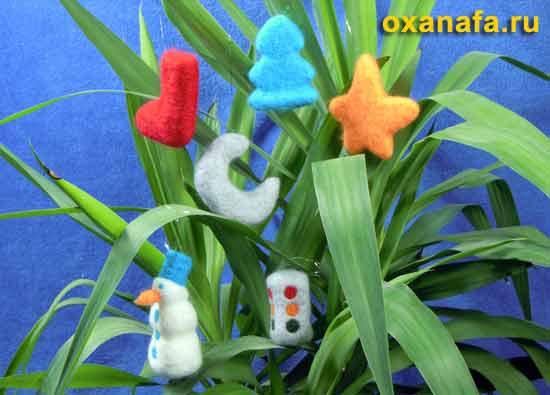 елочные игрушки из шерсти своими руками