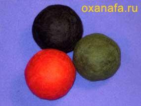 Свалянные шары из шерсти для валяния