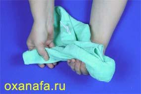 изготовление зайца из полотенца