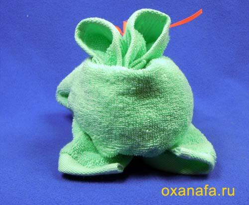 как сделать зайца из полотенца