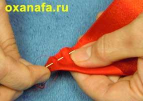 изготовление листочков розы из атласной ленты