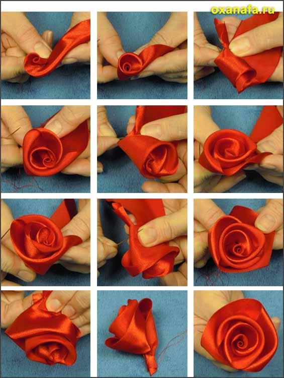 схема сборки центральной части розы из атласной ленты
