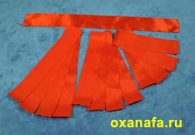 заготовки для изготовления розочки из атласной ленты