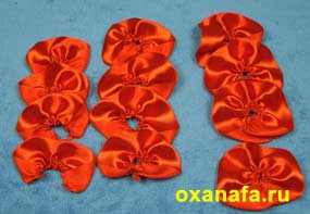готовые листочки розы из атласной ленты