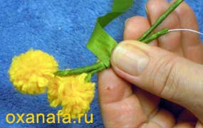 сборка ветки мимозы своими руками