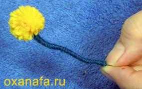 обмотка ветки мимозы нитью