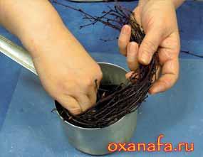 заложить ветки березы по спирали