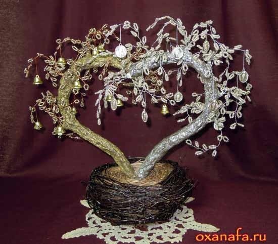 Дерево из бисера на свадьбу.