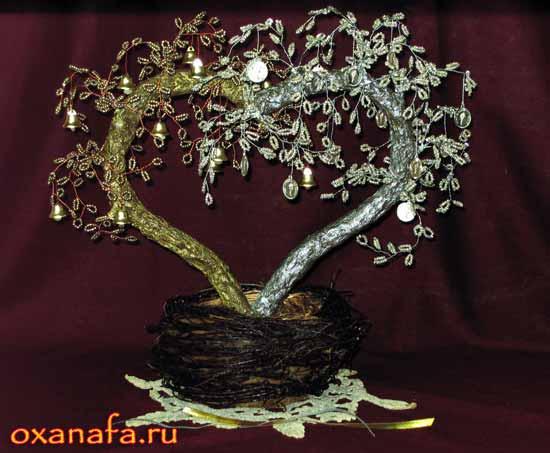 дерево из бисера на серебряную свадьбу. Мастер класс