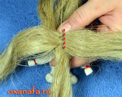 пришить вторую прядь волос кукле