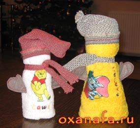 подарочные снеговики из полотенец