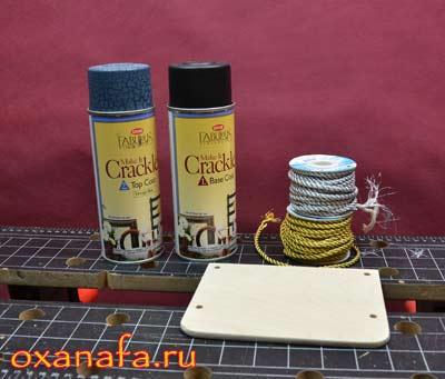 краска Crackle и декоративные шнуры для самодельной полочки