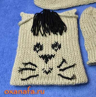 Вязанная детская шапочка в виде кота